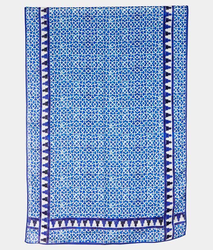 Pañuelo estampado para el cuello azul y blanco