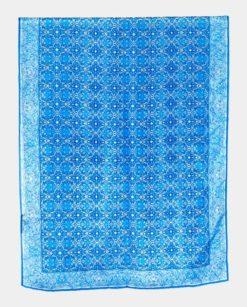 Fular geométrico seda natural azul