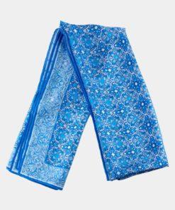Fular de seda natural azul estampado