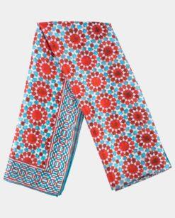 Pañuelo de Seda Estampado Azul y Rojo con geometrías