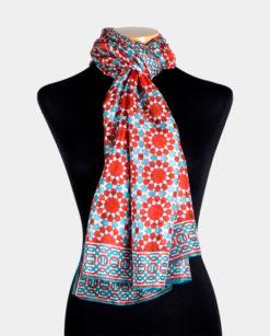 Pañuelo de seda con estampado geométrico para el cuello