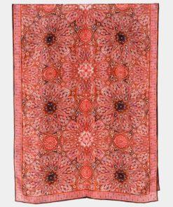 Pañuelo seda grande estampado geométrico rojo