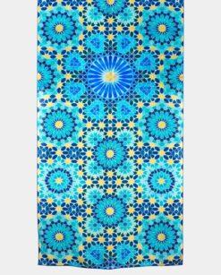 Pañuelo de seda natural azul y dorado