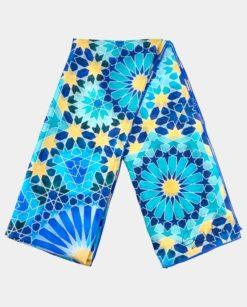 Pañuelo de seda azul y dorado para el cuello