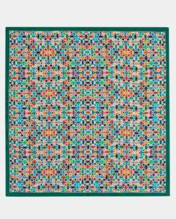 Fular de seda cuadrado multicolor