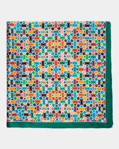 Pañuelo de seda cuadrado multicolor