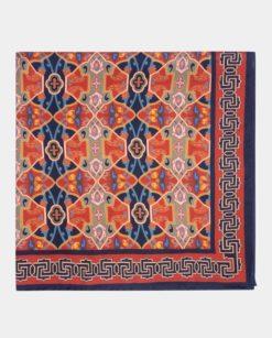 Elegante pañuelo de seda cuadrado burdeos y azul marino