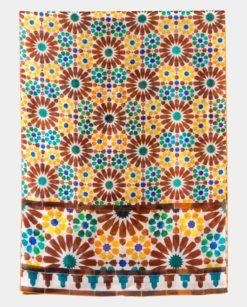 Pañuelo de seda geometría islámica amarillo y marrón