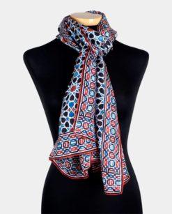 fular seda estampado para el cuello azul y rojo