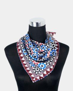 Pañuelo de seda para el cuello cuadrado rojo y azul