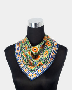 Pañuelo de seda para el cuello multicolor cuadrado