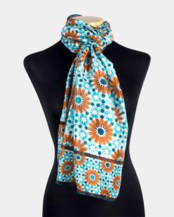 Pañuelo grande de seda para el cuello azul y marrón