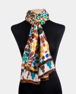 Pañuelo de seda para el cuello con estampado amarillo y marrón