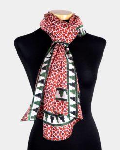 foulard seda natural rojo con estampado geometría islámica