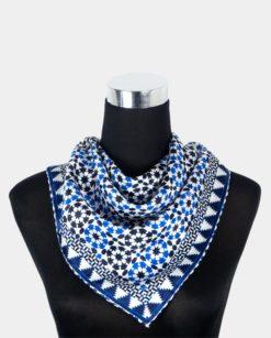 Fular cuadrado de seda para el cuello azul