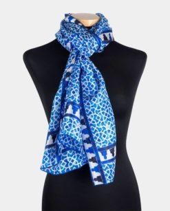 Fular de seda estampado para el cuello azul y blanco