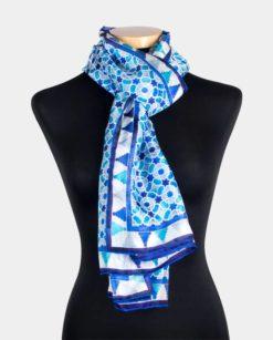Pañuelo de seda natural para el cuello azul y blanco