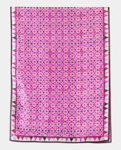 Pañuelo de seda grande con estampado geométrico morado