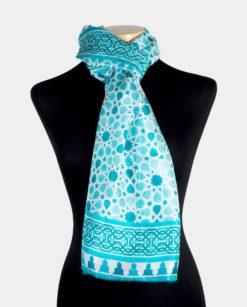 Fular seda grande estampado azul y blanco