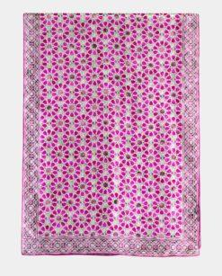 Fular de seda estampado con colores rosas y verdes