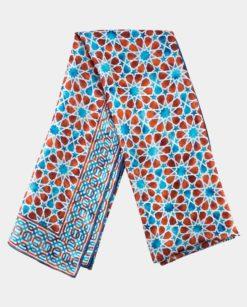 Pañuelo seda estampado marrón y azul