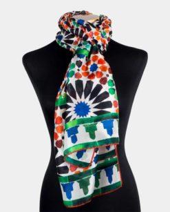 Pañuelo de seda para el cuello naranja verde y negro