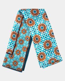 Pañuelo de seda grande con estampado azul y marrón