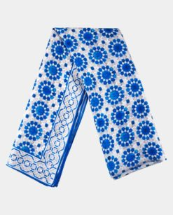 Pañuelo de Seda Natural Azul y Gris geométrico