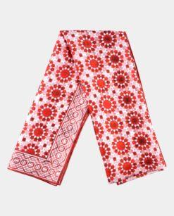 Pañuelo de seda estampado rojo para mujer