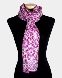 fular seda para el cuello estampado rosa y verde