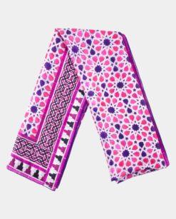 Fular de seda grande con estampado geométrico rosa
