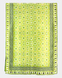 Pañuelo de seda con estampado grande verde y blanco