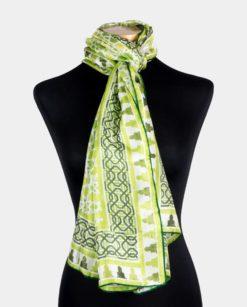 Pañuelo de seda geométrico estampado grande verde