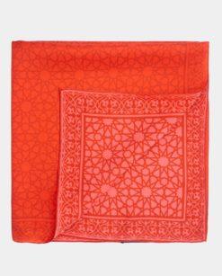 fular cuadrado de seda rojo