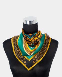 Pañuelo de seda turquesa y negro