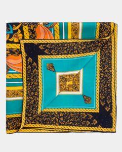 Pañuelo de seda azul y negro