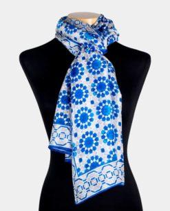pañuelo de seda natural para el cuello con estampado azul y gris