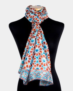 pañuelo seda estampado cuello marrón y azul