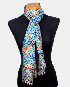 Pashmina de seda multicolor para el cuello