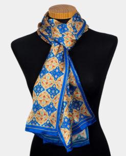 Pañuelo azul de seda para el cuello con estampado turco