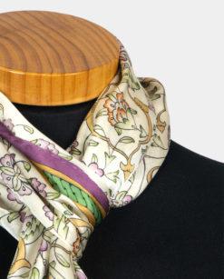 Pañuelo de seda para el cuello marrón y morado