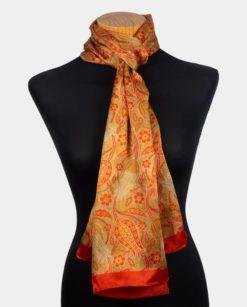 Chal de seda natural para mujer con estampado floral