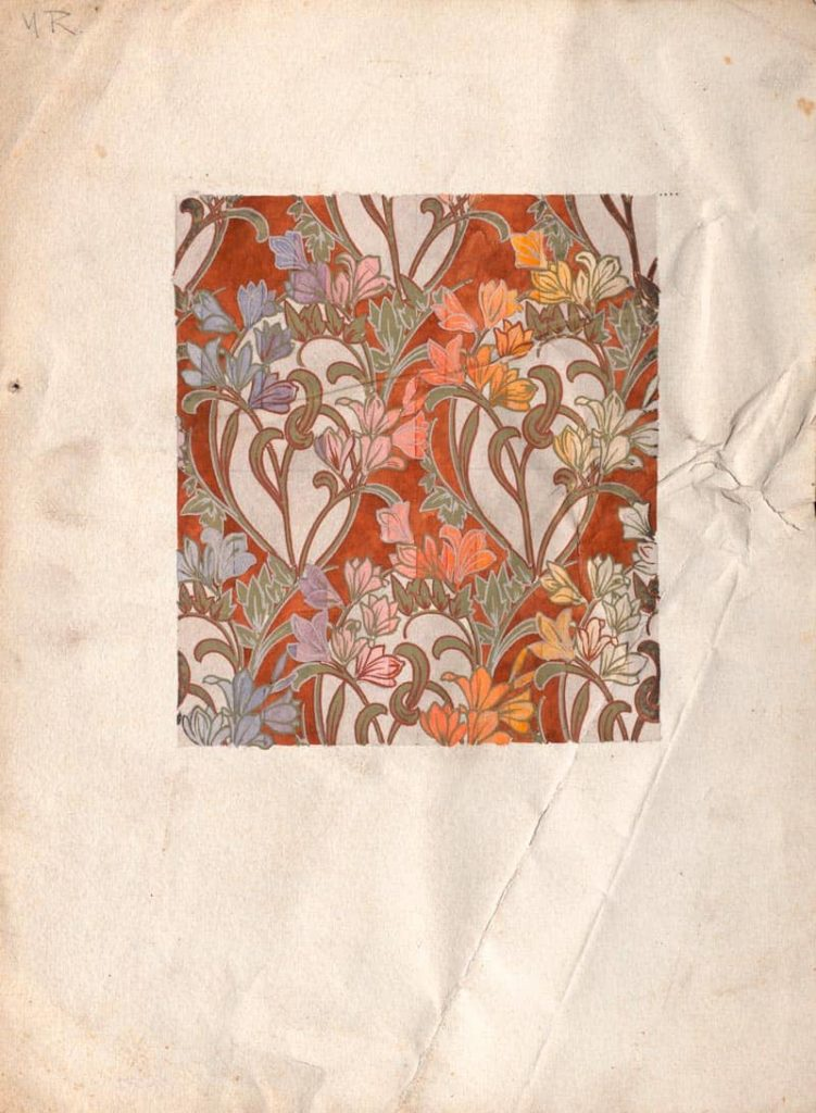 Estampado art nouveau pintado a mano