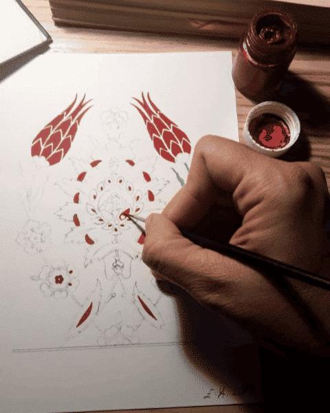 Proceso de pintado a mano de patrón floral