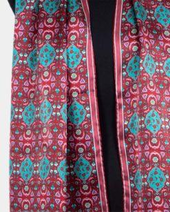 Foulard rojo y turquesa de seda con estampado otomano