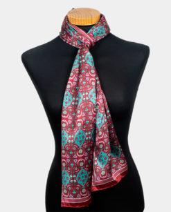 Foulard rojo de seda para el cuello con estampado floral