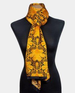 Fular dorado de seda para el cuello