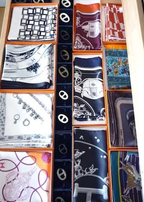 How to store folded silk scarves
